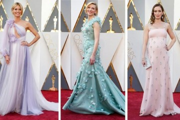 Heidi Klum (L), Cate Blanchett and Emily Blunt pose on the red carpet in this combination photo before the 2016 Academy Awards in Hollywood, California February 28, 2016. REUTERS/Staff