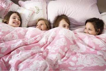 Girls having slumber party