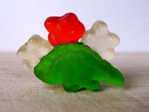 Gummy Tri-bear-atops hunts for prey.