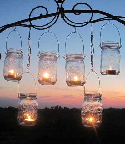 In fact, mason jars make for terrific lights  we've already talked sun jars,  but you can turn mason jars into lanterns by simply adding an LED candle  (or a ...