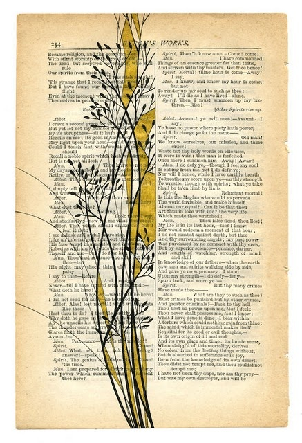 there are actually some really lovely examples of simple book page art here or here its pretty straightforward stuff