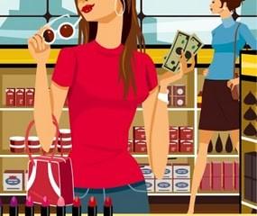 Girl Shopping for Makeup