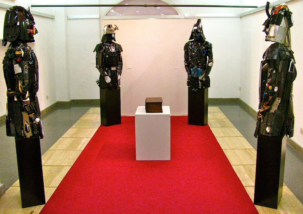 "Sculptures of Samurai robots from ""Game of Cultures"" by artists DARIO TIRONI and KOJI YOSHIDA."
