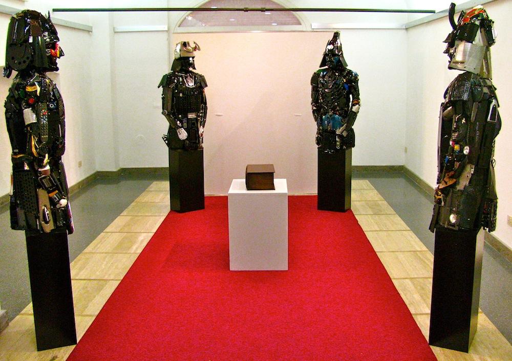 "Sculptures of Samurai robots from ""Game of Cultures"" by artists DARIO TIRONI and KOJI YOSHIDA."