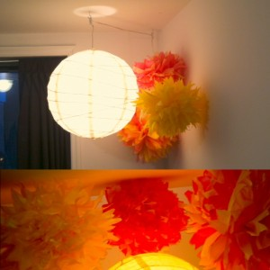 $3 to make three hanging pom-poms, DIY-style.
