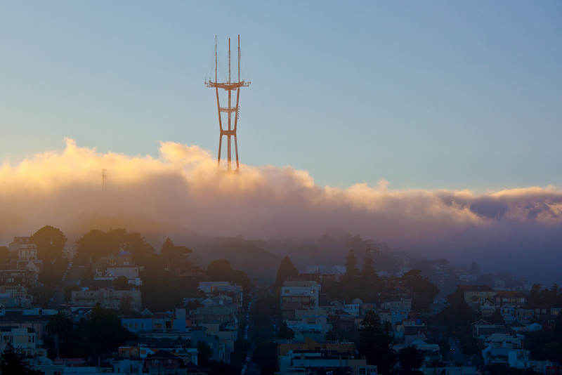 Sutro Tower foggy sunset-L