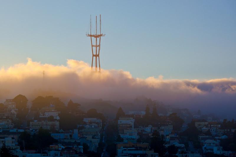 Sutro Tower foggy sunset-L