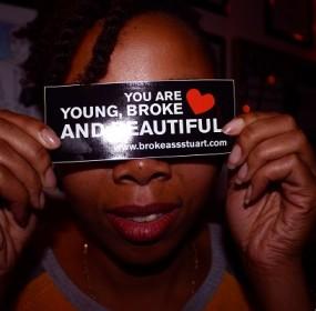 Young-Broke-Beautiful-Party-Dardy-Bar-Broke-Ass--Stuart-NYC-Sticker-Woman