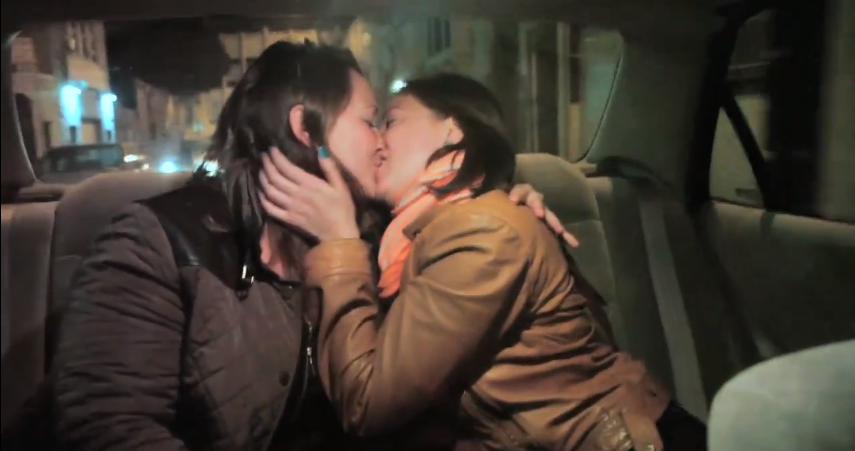 Girls making out in car