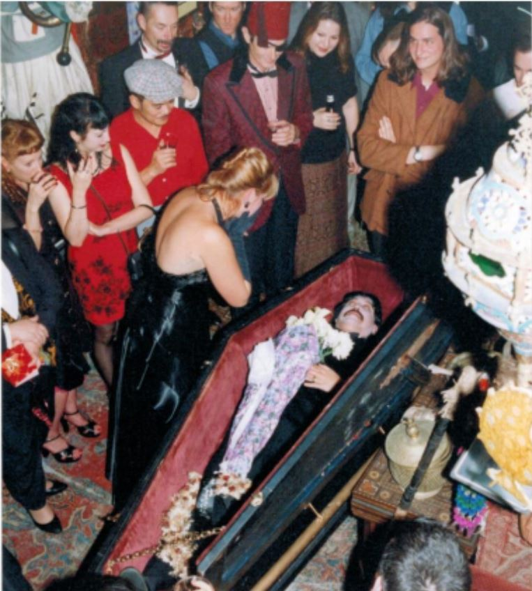 Every year Miss P baked a cake in the likeness of Marcel Proust and has a wake for him in an art coffin.  Volunteers to play the corpse were always welcome