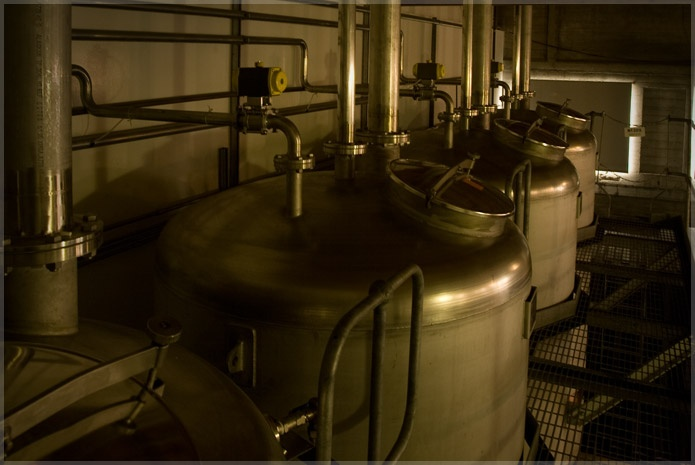 Copper stills at the 209 distillery. Only distillery in the world, over water.