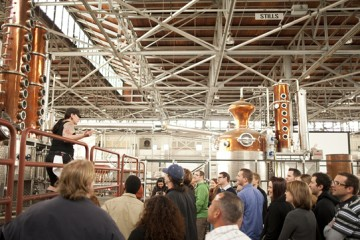 Andie Ferman conducts a tour at the St George Distillery
