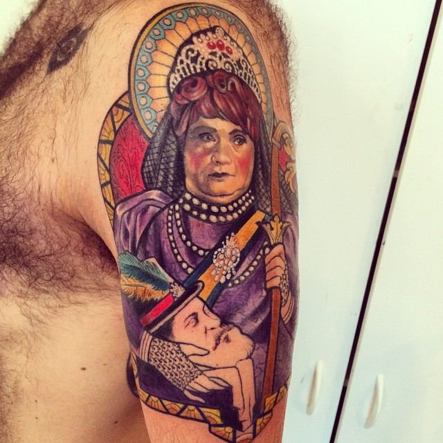 Tom Temprano's arm: a living memorial to José Sarria, The Widow Norton. I mean, come on!