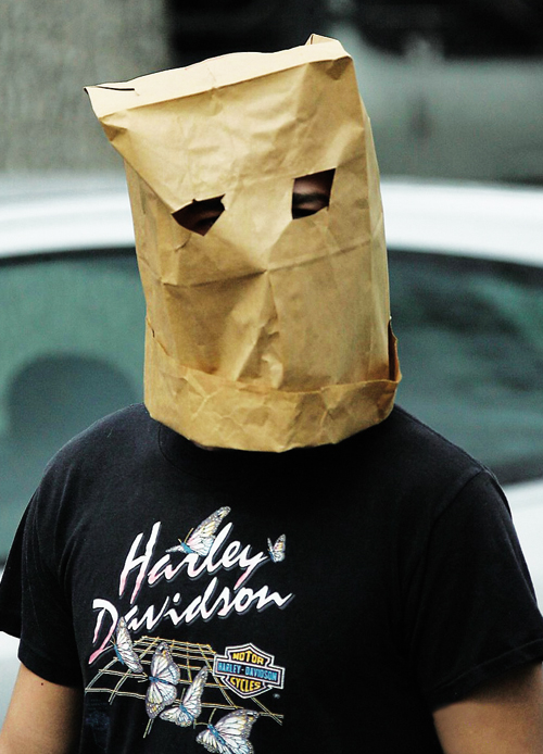bag on head