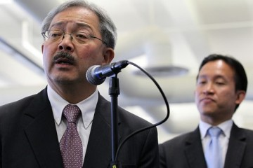 SAN FRANCISCO, CA - AUGUST 30:  San Francisco mayor Ed Lee (L) speaks during a press conference as San Francisco board of supervisors president David Chiu looks on at the new Zendesk offices on August 30, 2011 in San Francisco, California.  San Francisco mayor Ed Lee officially opened the offices of Zendesk, a provider of cloud-based help desk software, is the first business to open on San Francisco's Central Market district since the adoption of the Central Market and Tenderloin Area payroll tax exclusion.  (Photo by Justin Sullivan/Getty Images)