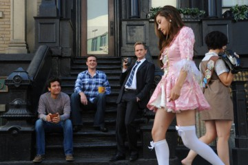 """Caning Randy"" -- Ted (Josh Radnor), Marshall (Jason Segel),and Barney (Neil Patrick Harris) spot Robin  marching in the Halloween parade of shame, on HOW I MET YOUR MOTHER, Monday, Nov. 1 (8:00-8:30 PM, ET/PT) on the CBS Television Network. Photo: Ron P. Jaffe/Fox © 2010 Fox Television. All Rights Reserved."