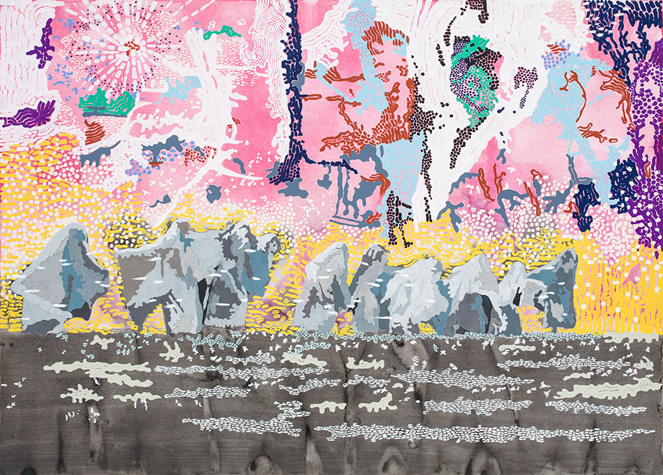 """Anna Fidler Ghost Parade 2015 Acrylic, gouache, colored pencil on paper 36"""" x 49.75"""" x 0.75"""""""