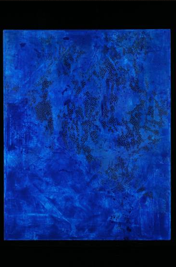 DEPTHS ON THE SURFACE 64″ x 51″ acrylic and wax on canvas