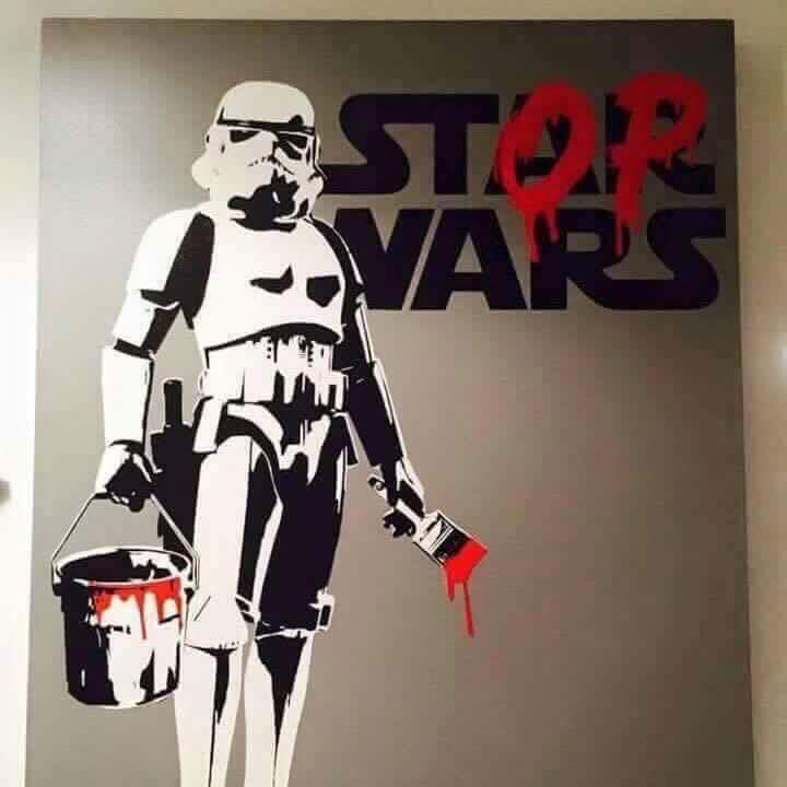 """Banksy """"Stop Wars' is not currently featured at White Walls, but like, everyone says it should be"""