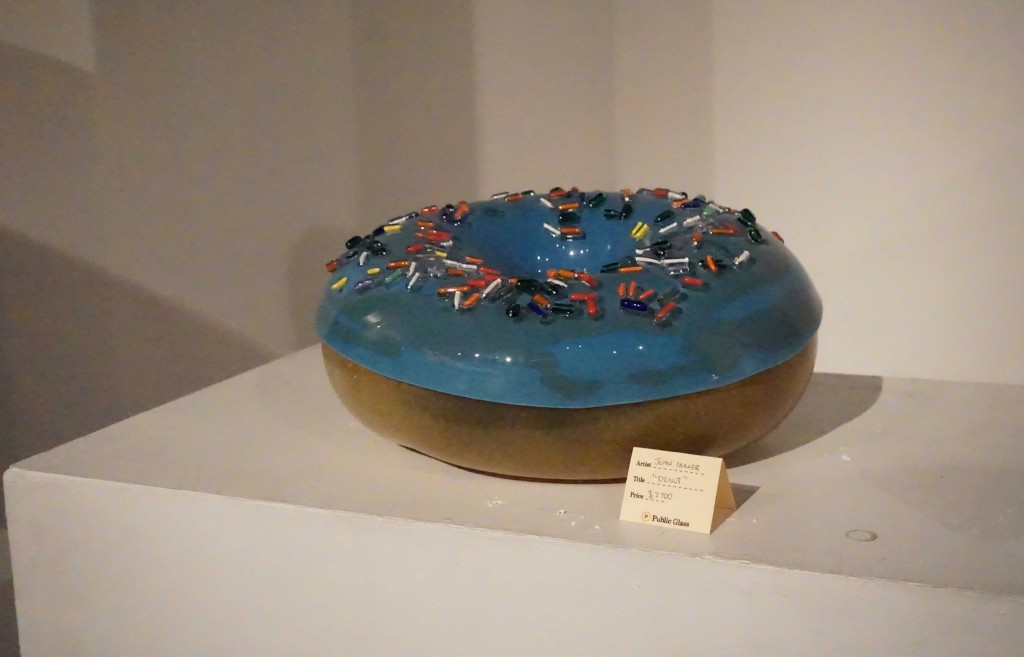 A detailed glass donut, approx. two feet in diameter.