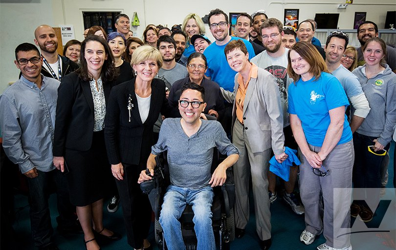 Raul and his mom with Julie Bishop MP and many (but not all) of the hackARThon engineers!