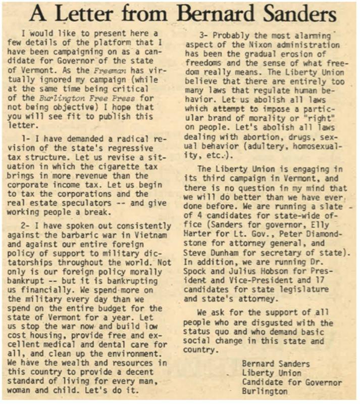Bernies letter
