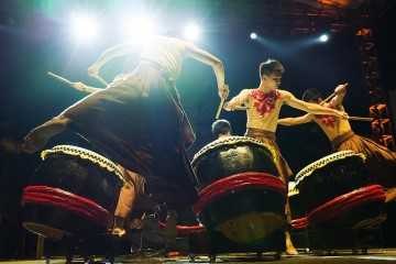 UBUD, BALI INDONESIA  APRIL 2, 2016--  HANDS PERCUSSION performing at Bali Spirit Festival.Photo Credit: Victoria Smith