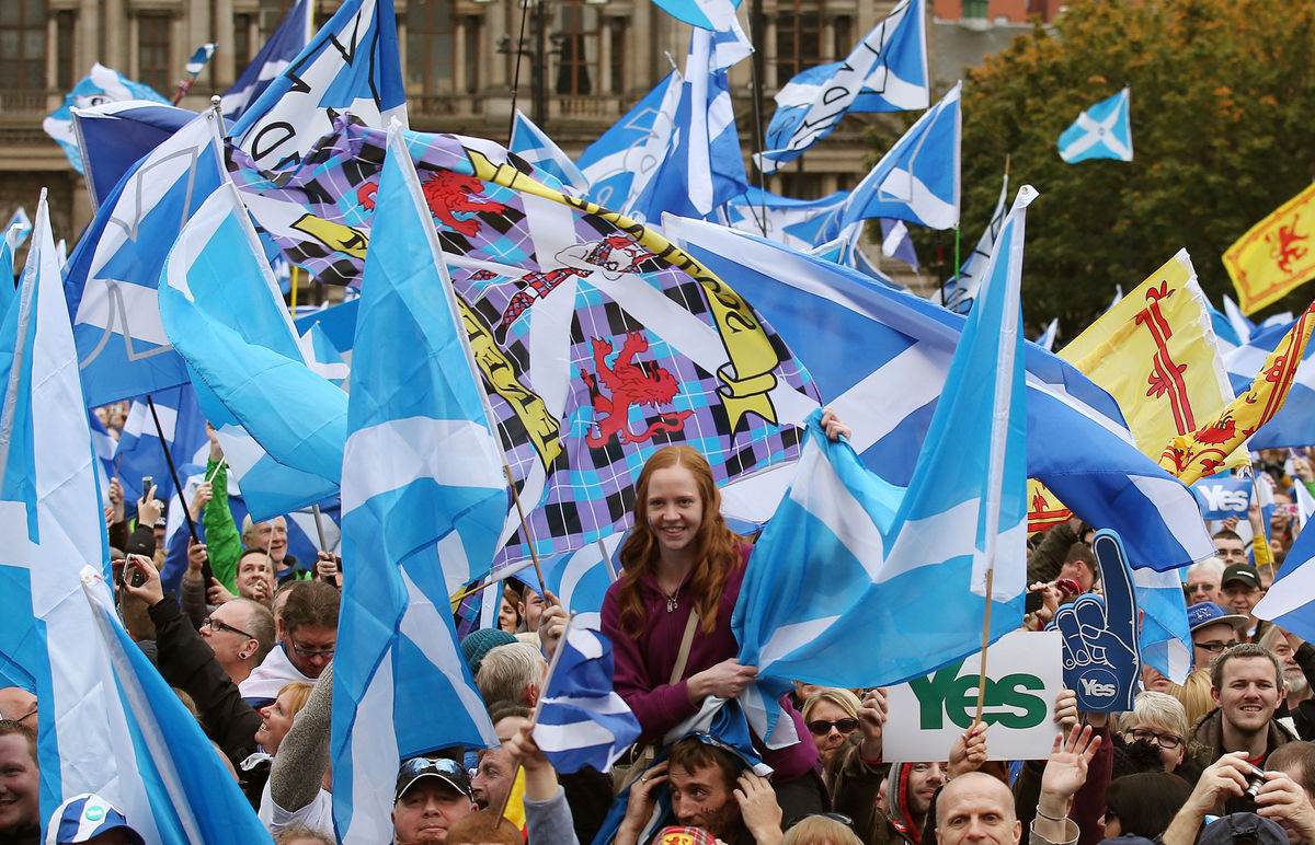 Scottish Independence rally 2014, via http://www.huffingtonpost.co.uk/