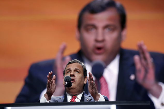 New Jersey Gov. Chris Christie speaks during the second day session of the Republican National Convention in Cleveland, Tuesday, July 19, 2016. (AP Photo/Carolyn Kaster)