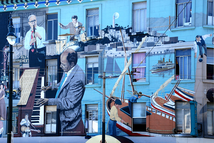 Artist: Bill Weber Location: Broadway & Columbus Ave, North Beach Current state: Available Photo by: SF Mural Arts