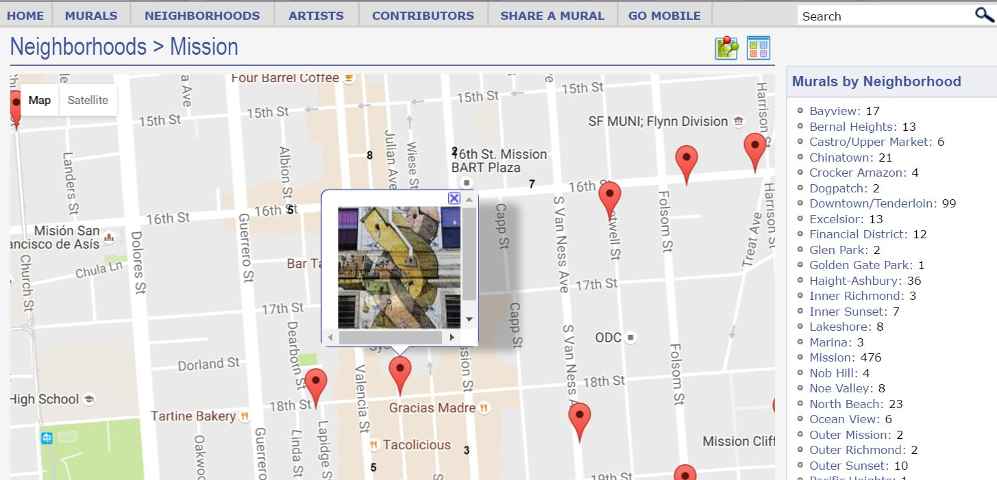 A Map Of San Franciscos Street Art  Murals By Neighborhood - Map san francisco mission district
