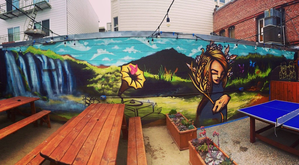 new mural at Finnegan's wake by Sam Flores and Ronnie Buders (now finnished)