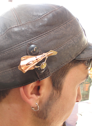 Josh wearing his custom hat pin, made with pierced copper spiculum, sterling silver accents on brass backplate (try saying that three times, fast) and tiger's eye.