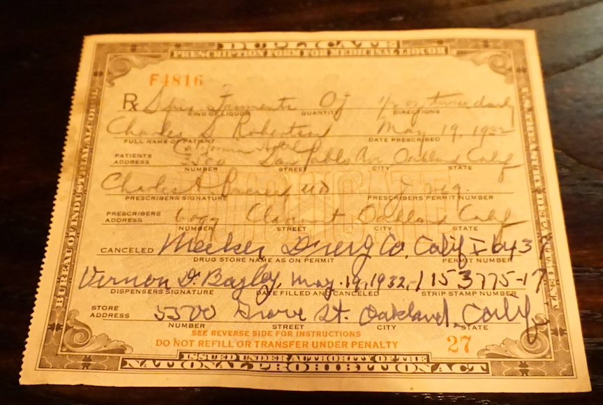 A vintage Prohibition-era liqour prescription from Libby's personal collection of bar ephemera.