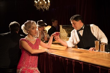 The Speakeasy. Jessica Waldman and Rick Roiting as the bartender. Photo by Peter Liu