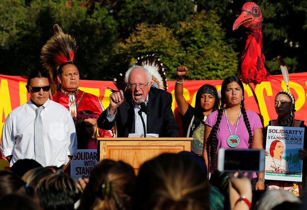 Former Democratic presidential candidate Senator Bernie Sanders (I-VT) speaks at a rally to call on President Barack Obama to stop the Dakota Access Pipeline, in front of the White House in Washington, U.S. September 13, 2016. REUTERS/Jonathan Ernst