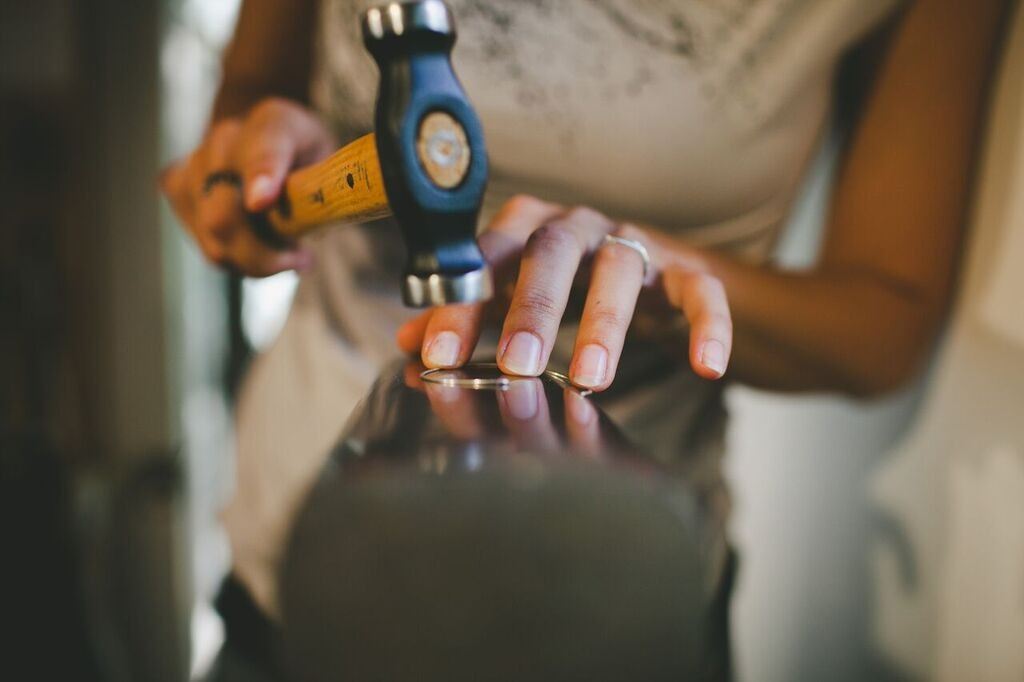 Luana Coonen hammering away, photo credit Cadencia Photography.