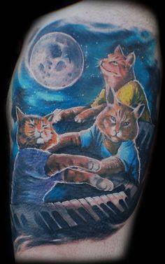 Keyboard cat!!! Tattoo and artwork by Mez Love.