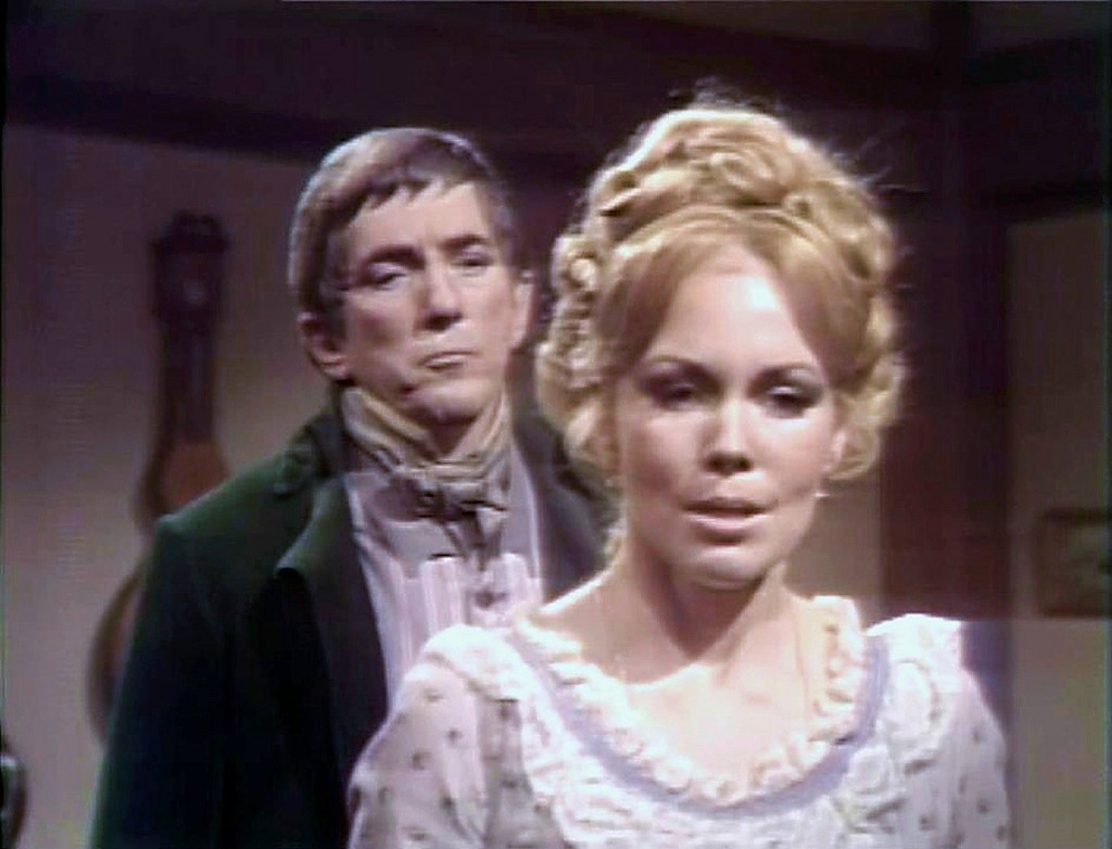 Jonathan Frid as Barnabas and Lara Parker as Angelique on Dark Shadows
