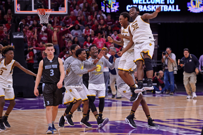 Mission's Robert Lee (24) and teammate U'Jah Pratt (32) leap in celebration as their team celebrate their win against Villa Park during boys Division III CIF state basketball championship game at Golden 1 Center in Sacramento, Calif. on Friday, March 24, 2017. Mission defeated Villa Park in overtime 62-45. (Jose Carlos Fajardo/Bay Area News Group)