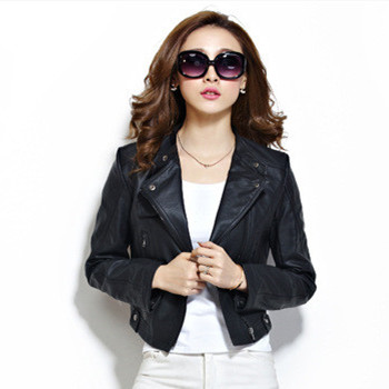 Women-Leather-Jacket-Classic-Black-Girls-Motorcycle-Biker-Jacket-