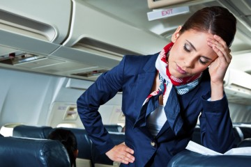 Tired air stewardess