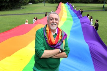 Creator of Iconic Rainbow Flag in Ireland forÔAn Evening of ABSOLUT PrideÕ...21.06.2011..Merrion Square Park,Dublin... Pictured with IrelandÕs largest and most colorful flag, the Rainbow flag (60X5 metres) is Rainbow flag creator Gilbert Baker who is in Ireland for the first time to speak at ÔAn Evening of ABSOLUT PrideÕ, organised by ABSOLUT Vodka in the National Gallery of Ireland tomorrow (Wednesday, 22nd June) to celebrate Pride 2011.The event is a continuation of ABSOLUTÕs collaboration with Gilbert Baker who designed the ABSOLUT Colors bottle in celebration of the 30th anniversary of the rainbow flag in 2008.The Rainbow flag is recognised internationally as a symbol of Lesbian, Gay, Bisexual and Transgender (LGBT) community.In 1978 Gilbert Baker the Rainbow flag was given its first public outing at the San Francisco Gay Freedom Parade on June 25th of that year. Slowly the flag took hold, and today it is recognised by the International Congress of Flag Makers, is flown in Pride marches worldwide and has become much more than just a flag, it is a symbol of hope and pride for the LGBT Community. Ê-ends- ÊFor further information: Kerryann Conway / Anri McHugh, Conway Communications. Tel: 01-7071704, 086-8215246 / 087-6168785