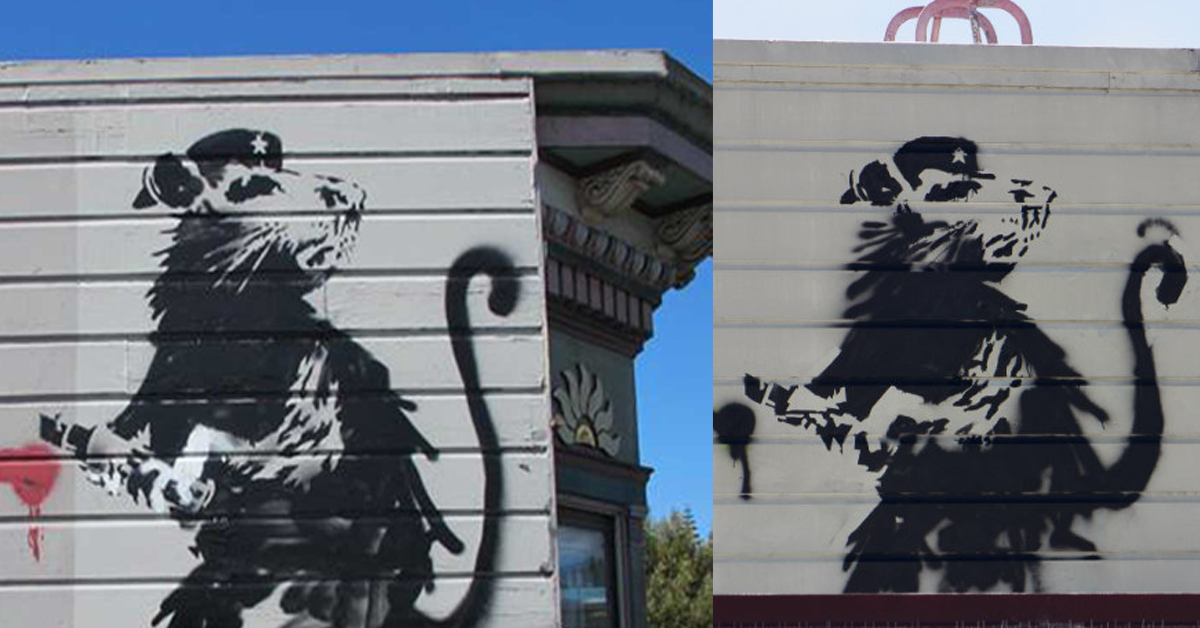 Is there a 39 banksy imposter 39 in san francisco broke ass for Banksy rat mural