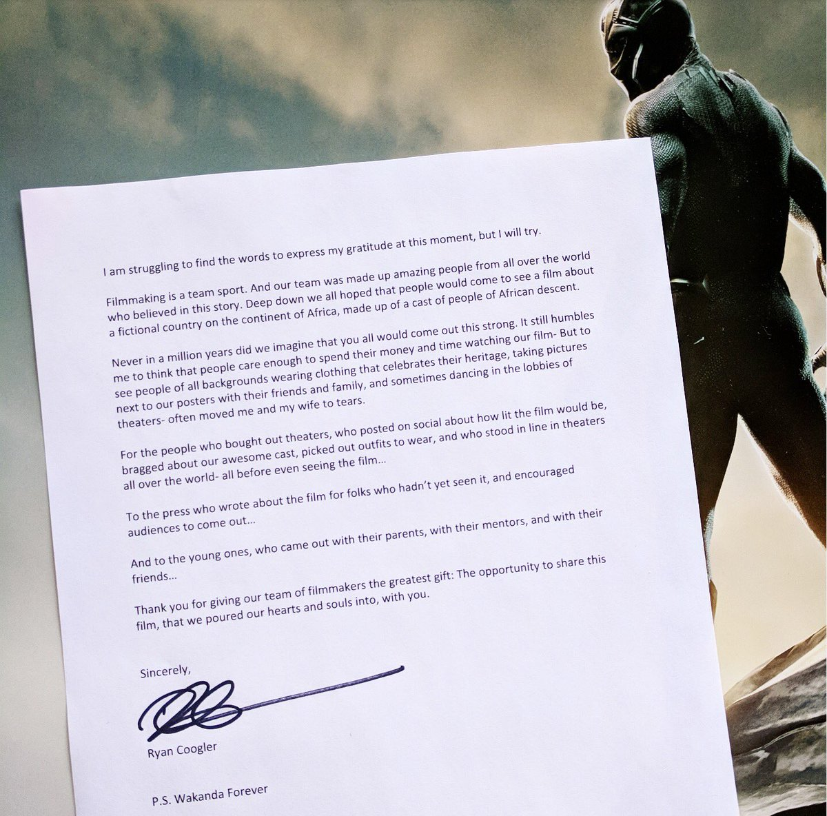 A beautiful black panther thank you letter from its director thank you letter from director ryan coogler photo courtesy of twitter via marvelstudios expocarfo Image collections