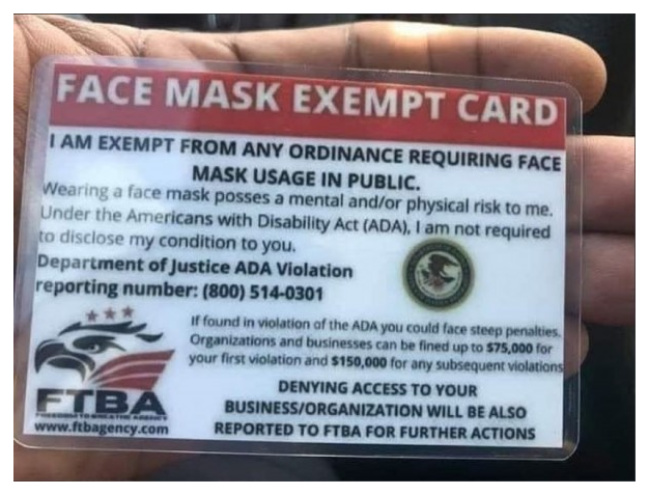 """Face Mask Exempt"" Cards"