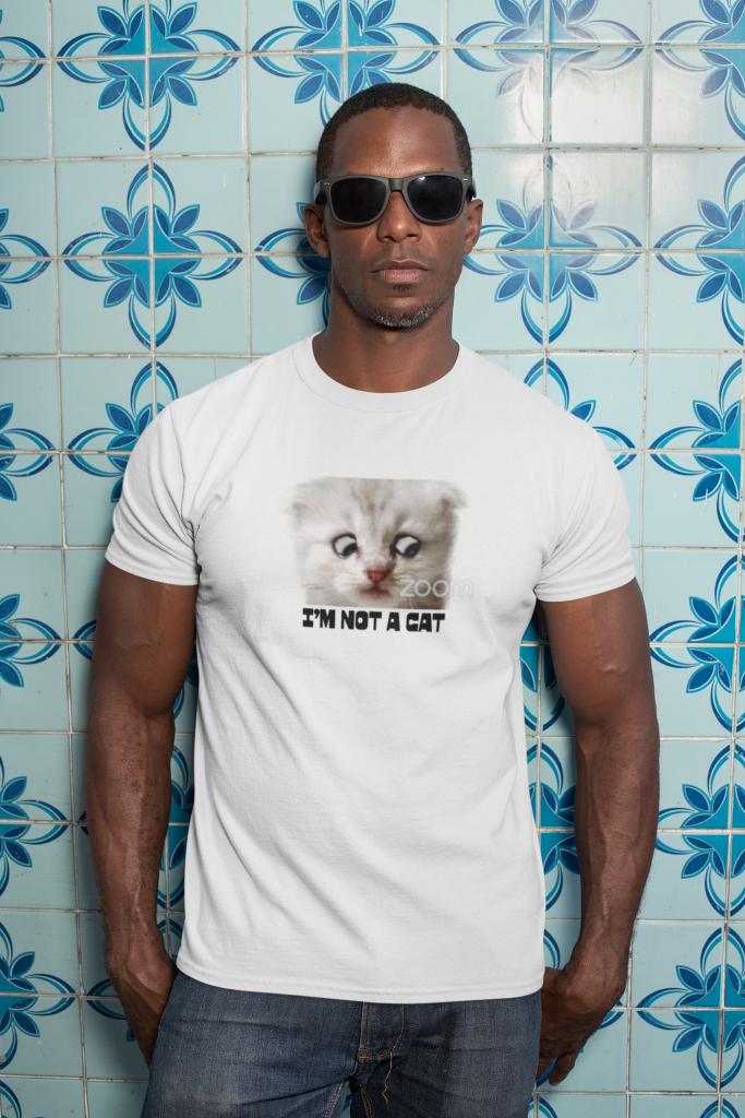 Man wearing I'm Not a Cat Shirt